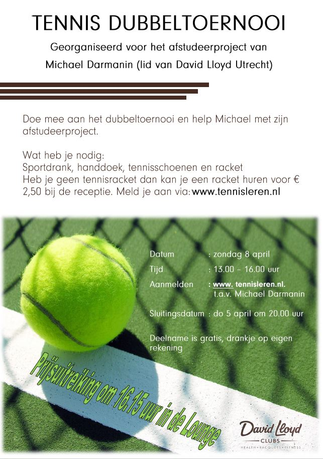 Flyer David Lloyd toernooi 8 april 2018